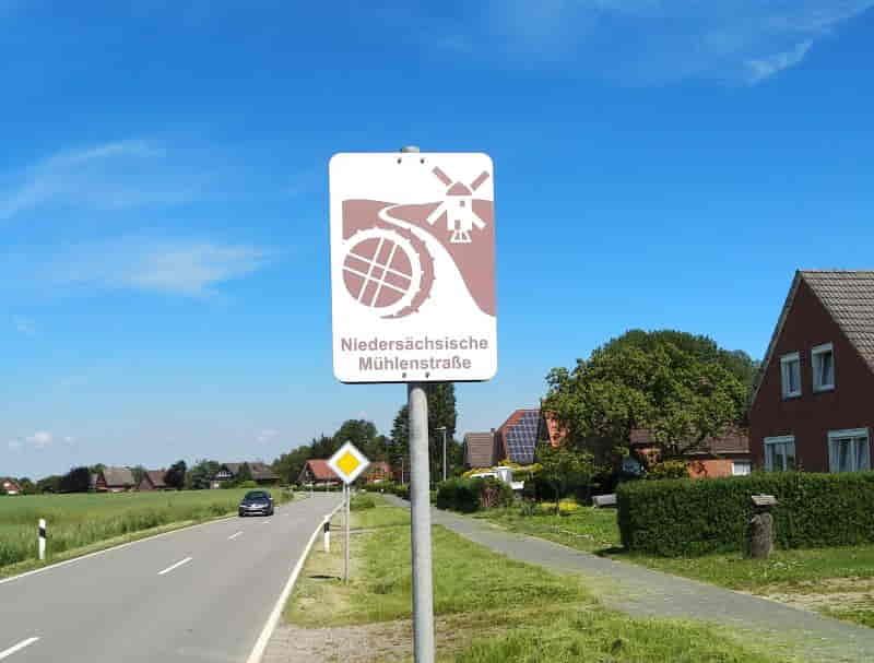 niedersächsische Mühlenstraße - Schild